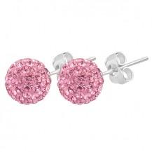 Rózsaszín Swarovski kristályos fülbevaló