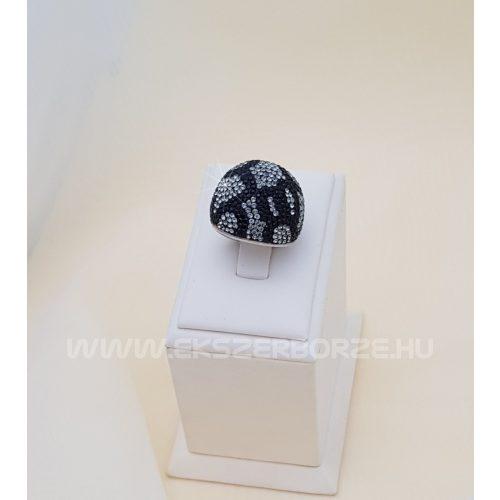 Swarovski kristályos ezüst gyűrű-domború