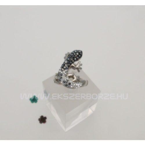 Swarovski kristályos ezüst gyűrű-gyík