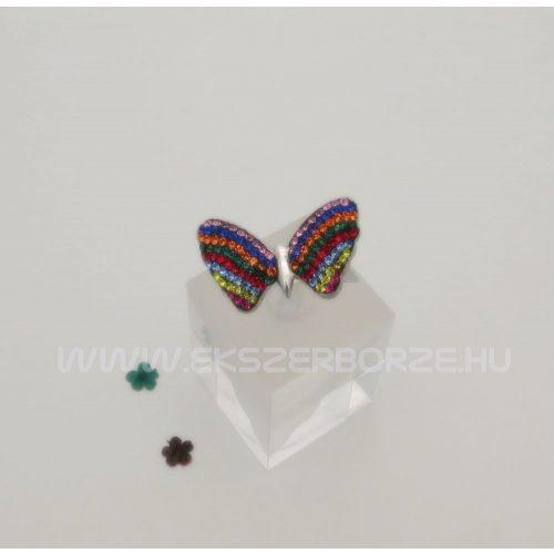 Swarovski kristályos ezüst gyűrű-pillangó alakú