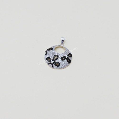 Fekete-fehér micro.cirkónia köves ezüst medál