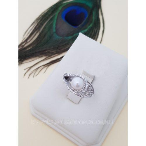 Tekla gyöngyös - cirkónia köves női gyűrű