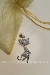 Micro-cirkónia köves ezüst cica medál