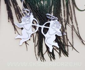 Törhető Ámor alakú ezüst medál pároknak GRAVÍROZHATÓ