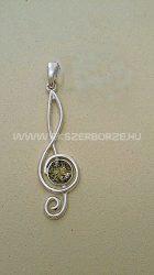 Violin kulcs alakú medál borostyánnal