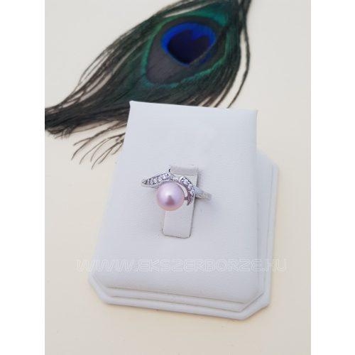 Rózsaszín gyöngyös - köves ezüst gyűrű