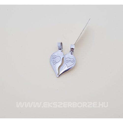 Dupla szíves ezüst medál törhető pároknak