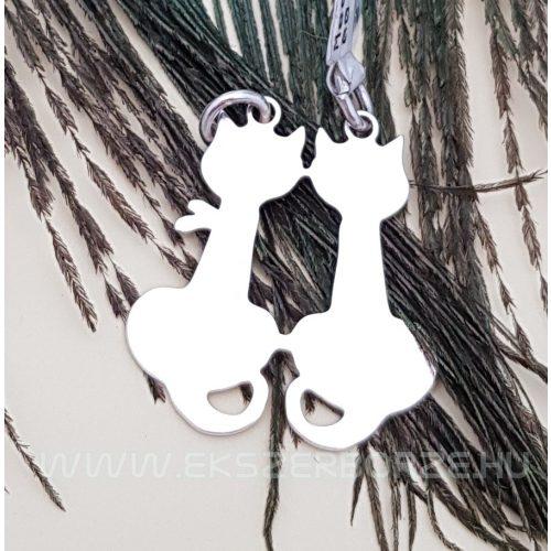 Ezüst törhető cica alakú medál pároknak