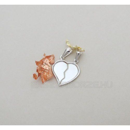 Ezüst törhető szív alakú medál párokna-GRAVÍROZHATÓ