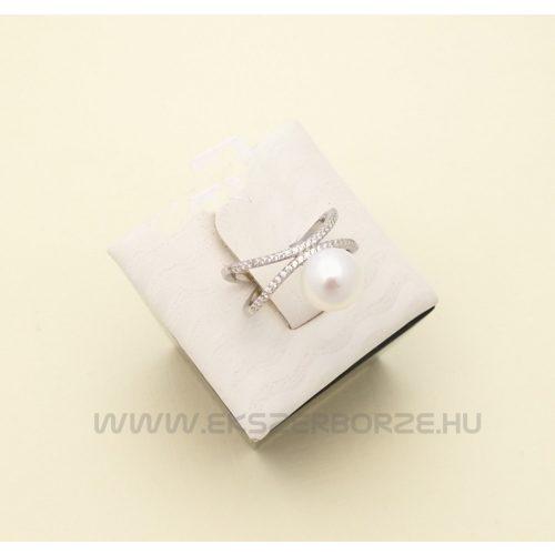 Édesvízi tenyésztett gyöngyös ezüst gyűrű