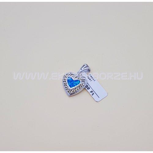 Kékopál köves ezüst szív medál