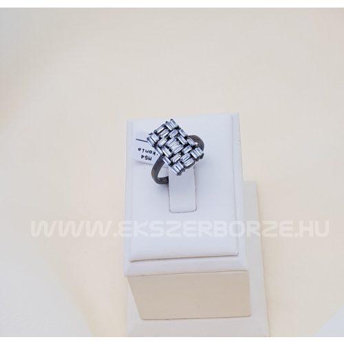 Cirkónia köves női ezüst gyűrű fekete róniummal