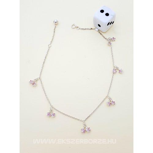 Ezüst bokalánc rózsaszín csillag medálokkal