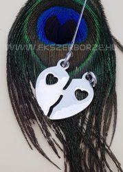 Ezüst törhető szív alakú medál pároknak-GRAVÍROZHATÓ