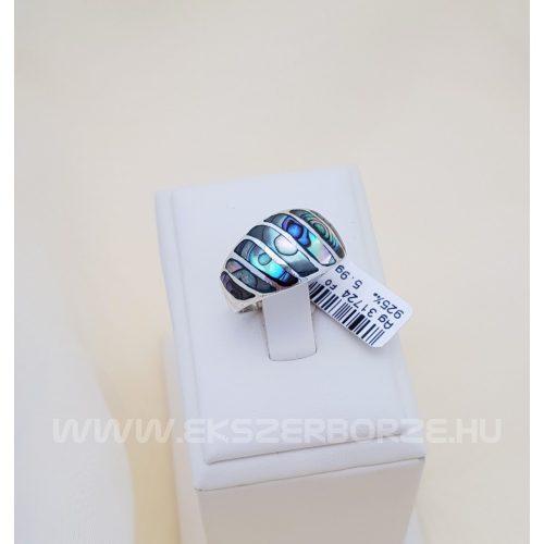 Ezüst gyűrű pávakagyló mozaikkal