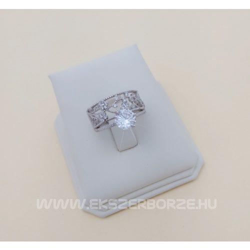 Ezüst eljegyzési gyűrű inda mintával