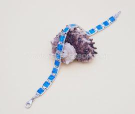 Kék opálos női ezüst karkötő