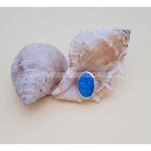 Kék opál köves női ezüst gyűrű