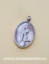 Különleges édesvízi tenyésztett gyöngyös ezüst medál