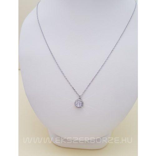 Zirkonia kövekkel díszített ezüst nyaklánc-nyakék
