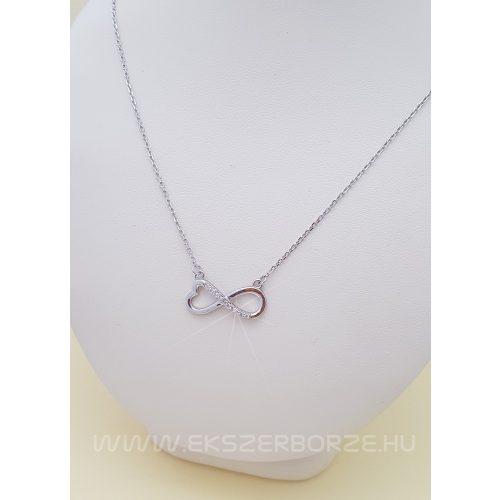 Ezüst szíves-végtelen nyaklánc-nyakék