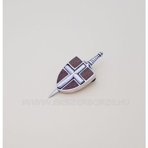 Ezüst pajzs medál kihúzható karddal, Tikfával