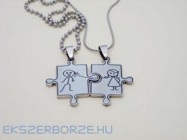 Acél medál pároknak nyaklánccal-puzzle GRAVÍROZHATÓ
