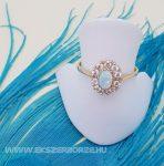 Cirkónia és opál köves női arany gyűrű
