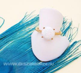 Arany fehér opál köves gyűrű