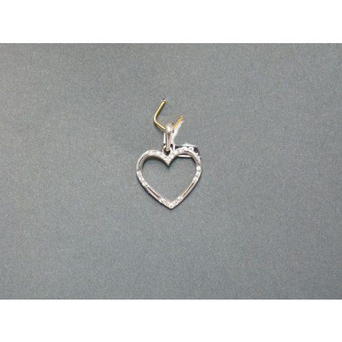 Fehérarany cirkónia köves szív medál