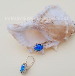Kékopál köves arany fülbevaló-hagyományos kapoccsal