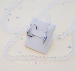 Fehér arany patent záras fülbevaló