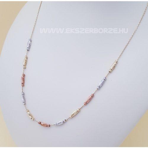 Három színű csillogó női arany nyaklánc