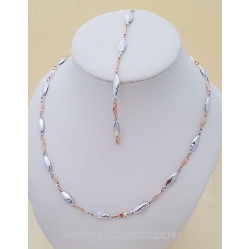 Fehérarany-rose gold  női nyaklánc-karlánc szett