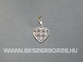 Fehérarany gyémántvésett áttört szív medál