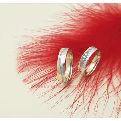 Fehér sárga arany karikagyűrű pár
