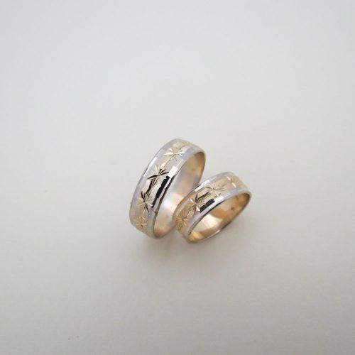 Fehér és Sárga arany gyémántvésett karikagyűrű