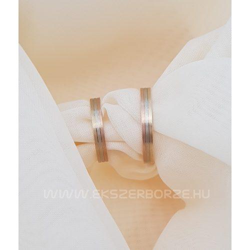 Háromszínű (Vörös-fehér-sárga arany) matt karikagyűrű