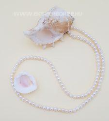 Fehér édesvízi tenyésztett igazgyöngy nyaklánc