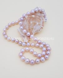 Rózsaszínes-mályvás színű édesvizi tenyésztett gyöngy nyaklánc