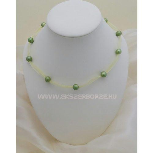 Édesvízi tenyésztett igazgyöngy nyaklánc-zöld