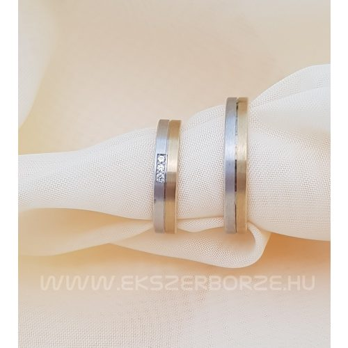 Sárgaés fehérarany matt karikagyűrű kövekkel