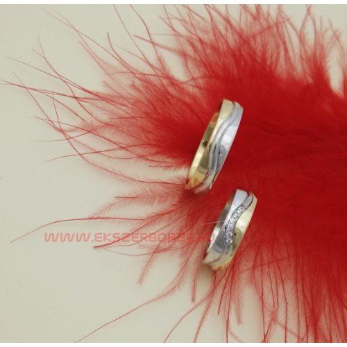 Fehér és sárga arany karikagyűrű pár