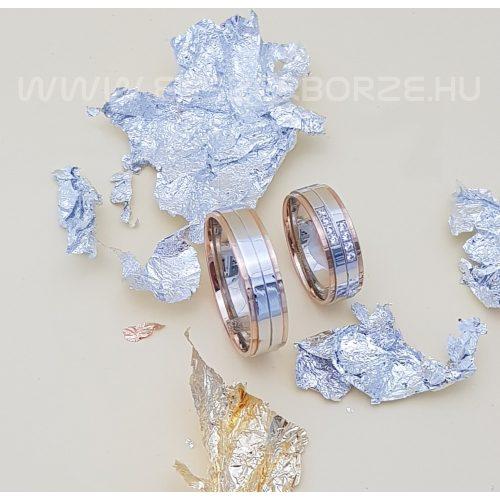 Rozé és fehérarany karikagyűrű-köves