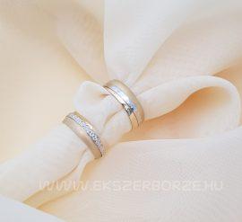 Fehér és sárga arany karikagyűrű