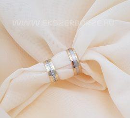 Fehér és sárga arany körben köves karikagyűrű