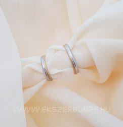 Fehér és sárga arany matt karikagyűrű