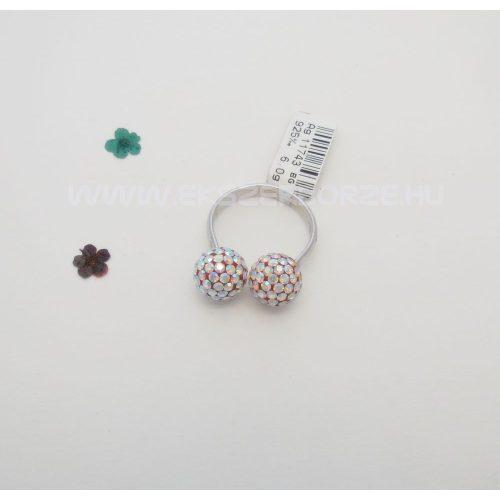 Swarovski kristályos ezüst gyűrű-színjátszó gömbökkel