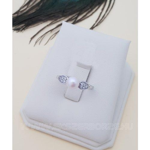 Édesvízi tenyésztett gyöngyös női ezüst gyűrű