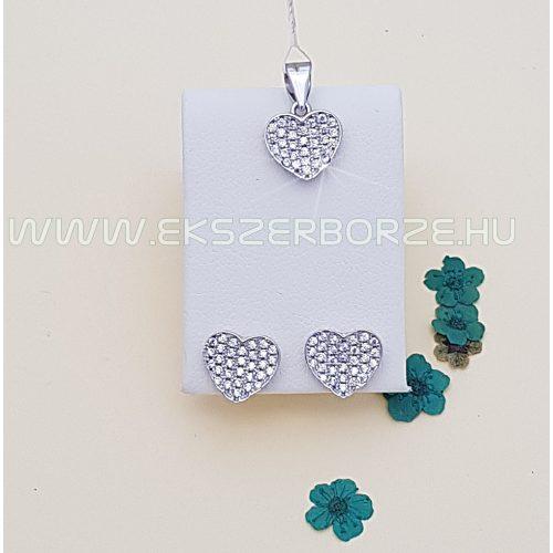 Szív alakú ezüst fülbevaló-medál szett